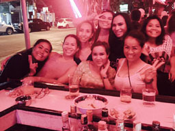 left to right front: young cousin, sister, Waan, oldest bar lady in Thailand, left to right back: owner, another cousin, ladyboy, I have no idea she just joined in when she saw us having a good time